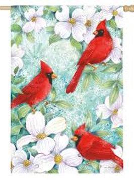 "Cardinals and Dogwood 14A3692 Evergreen Satin Garden Flag 12.5"" x 18"""