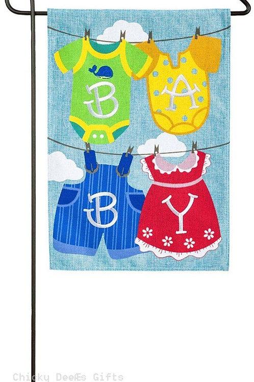 "Baby Clothesline 14B4049 Evergreen Burlap Garden Flag 12.5"" x 18"""