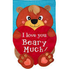 I Love You Beary Much 168619 Evergreen Applique Garden Flag 12.5 x 18""