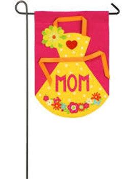 "MOM's Apron 14B4046 Evergreen Burlap Garden Flag 12.5"" x 18"""