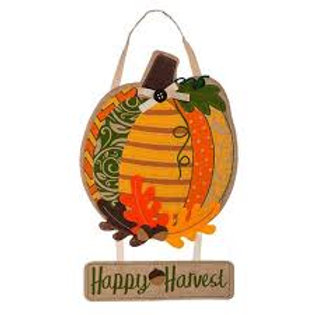 Pumpkin Time Door Decor 2DHB1220 Evergreen Door Hanger