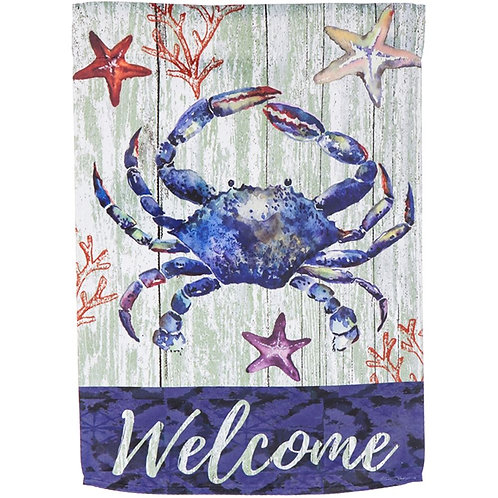 "Welcome Crab 13S4794 Evergreen Suede HOUSE Flag 28"" x 44"""