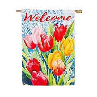 "Bright Tulips 14S4083 Evergreen Suede HOUSE Flag 28"" x 44"""