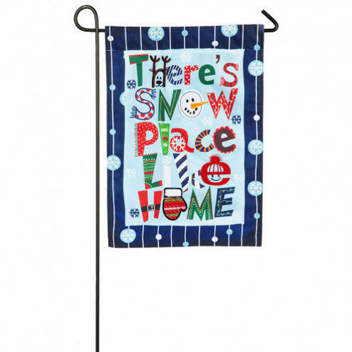 "**SALE** Snow Place Like Home 14L4548 Evergreen Linen Garden Flag 12.5"" x 18"""