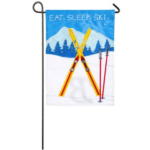 """Eat Sleep Ski 168719 Evergreen Applique Garden Flag 12.5"""" x 18"""""""
