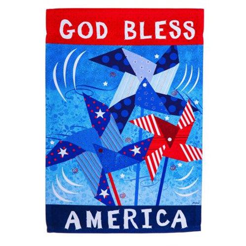 """Patriotic Pinwheels 14S4449 Evergreen Suede Garden Flag 12.5"""" x 18"""""""