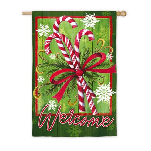 "Candy Cane & Ribbon ZHD13S3967 Evergreen Suede HOUSE Flag 28"" x 44"""