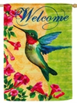 "**OPEN FLAG NO PACKAGING** Welcome Hummingbird 13S2223 Suede HOUSE Flag 28""x44"""