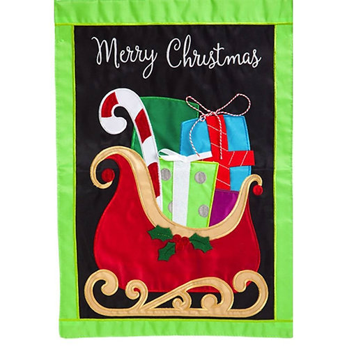 "Gifts on Christmas Sleigh 168705BL Evergreen Applique Garden Flag 12.5"" x 18"""