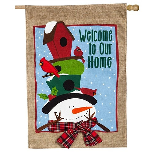 "**OPEN FLAG** Birdhouse Winter Hat 13B4545 Evergreen Burlap HOUSE Flag 28"" x 44"""