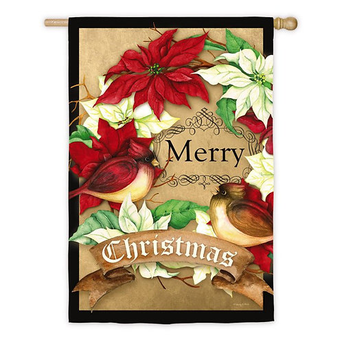 """**OPEN FLAG** Merry Christmas 13S3969 Evergreen Suede HOUSE Flag 28"""" x 44"""""""