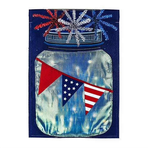 """Patriotic String Lights Mason Jar Solar LED 14SL8506 Garden Flag 12.5"""" x 18"""""""
