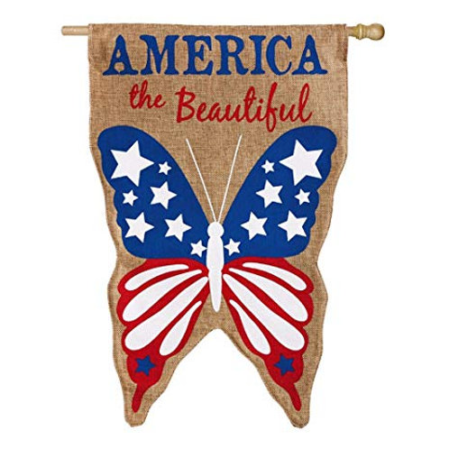 "**OPEN FLAG NO PACKAGING** America the Beautiful Burlap HOUSE Flag 28"" x 44"""