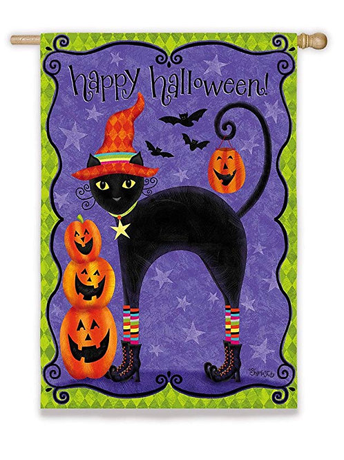 "**OPEN FLAG** Chic Halloween Cat Evergreen Suede HOUSE Flag 28""W x 44""H"