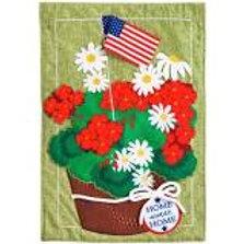 "**OPEN FLAG ** Patriotic Basket Flowers Linen Garden Flag 12.5""x18"""