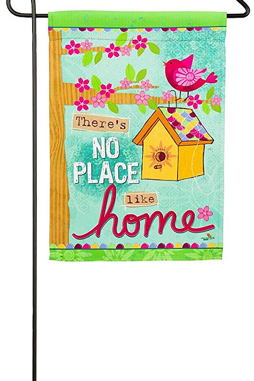 "No Place Like Home 14S4156 Evergreen Suede Garden Flag 12.5"" x 18"""