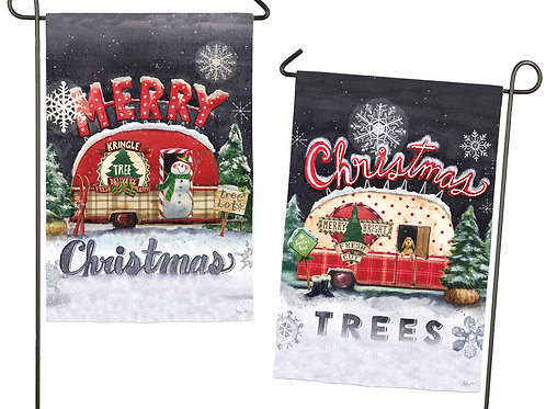 "Tree Lot Plaid Christmas 14S3958FB Evergreen Suede Garden Flag 12.5"" x 18"""