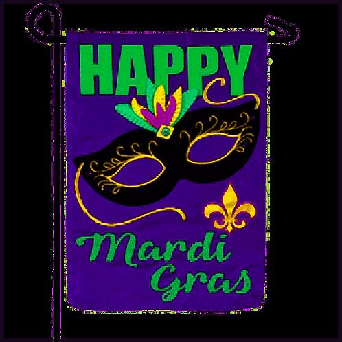 "Happy Mardi Gras 168908BL Evergreen Applique Garden Flag 12.5"" x 18"""