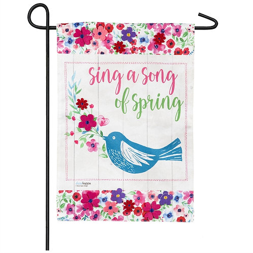 "Spring Song 14L8413 Evergreen Linen Garden Flag 12.5"" x 18"""