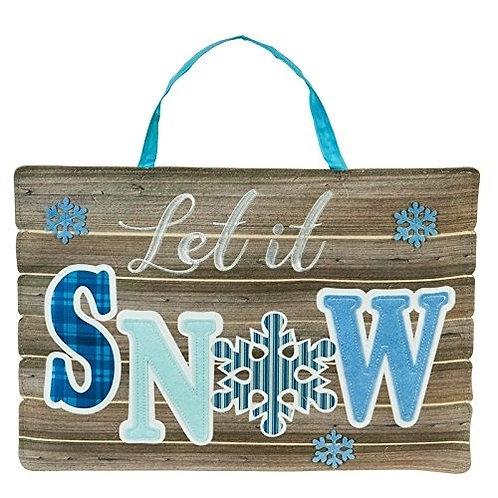 Let It Snow Door Decor 2DHB1374 Evergreen Door Hanger