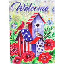 "**OPEN FLAG** American Patriotic Birdhouse 13S4473 Suede HOUSE Flag 28"" x 44"""