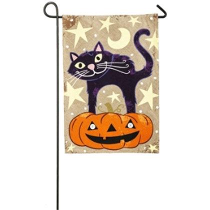 """Halloween Cat 14B3887BL Evergreen Burlap Garden Flag 12.5"""" x 18"""""""