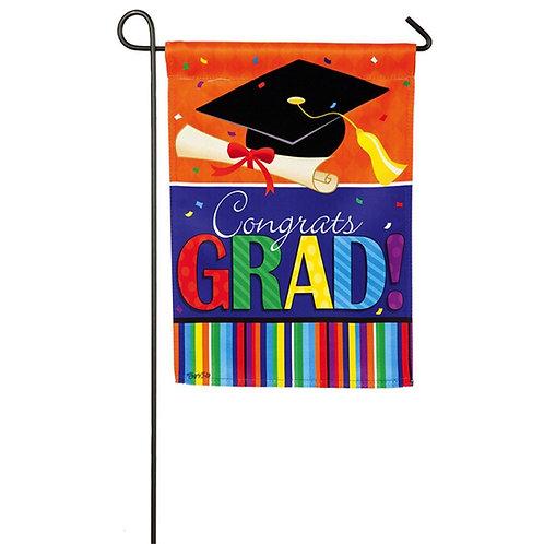 "Congrats Grad Confetti 14S3668BL Evergreen Suede Garden Flag 12.5"" x 18"""