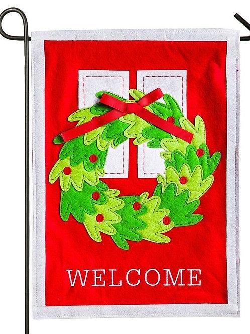 """Welcome Door Wreath 16F8467 Evergreen Felt Garden Flag 12.5"""" x 18"""""""