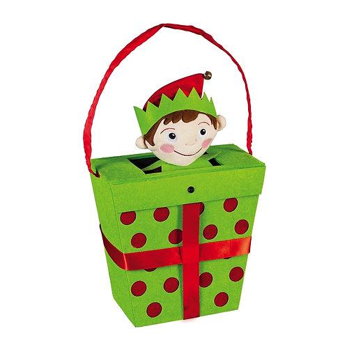 Elf In A Gift Box MOTION Door Décor 2DH1520MBL Evergreen Door Hanger