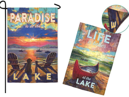 "**OPEN FLAG** Paradise Lake 13S3411FB Evergreen Suede HOUSE Flag 28"" x 44"""