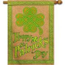 "Happy St Patrick's Day 13B4024BL Evergreen Burlap HOUSE Flag 28"" x 44"""