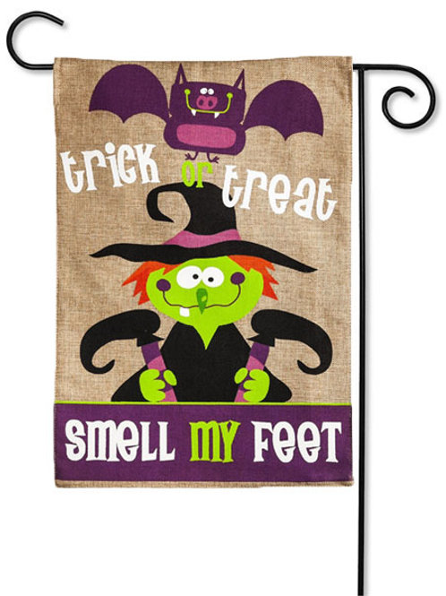 "Smell My Feet 14B3864 Evergreen Burlap Garden Flag 12.5"" x 18"""