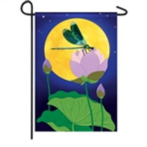 "Dragonfly Moon Garden Solar LED LIGHT UP 14SL8436 Garden Flag 12.5"" x 18"""