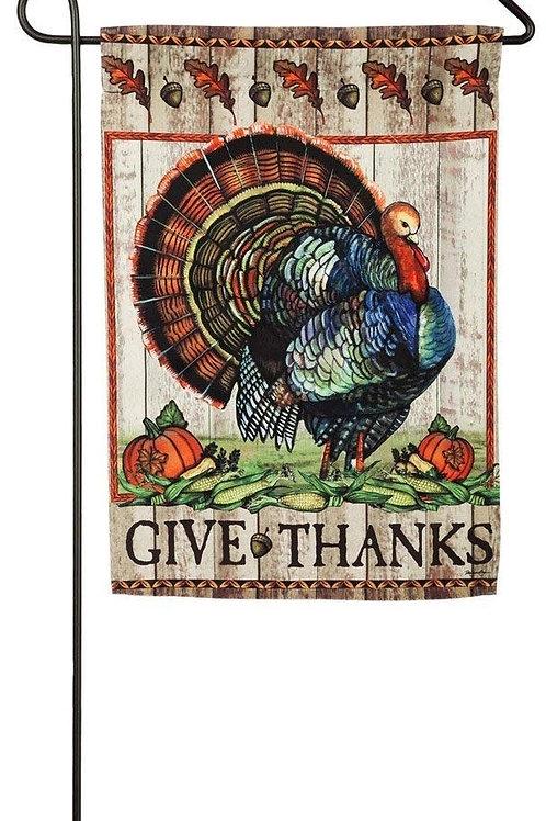 """Give Thanks Turkey 14S3948 Evergreen Suede Garden Flag 12.5"""" x 18"""""""