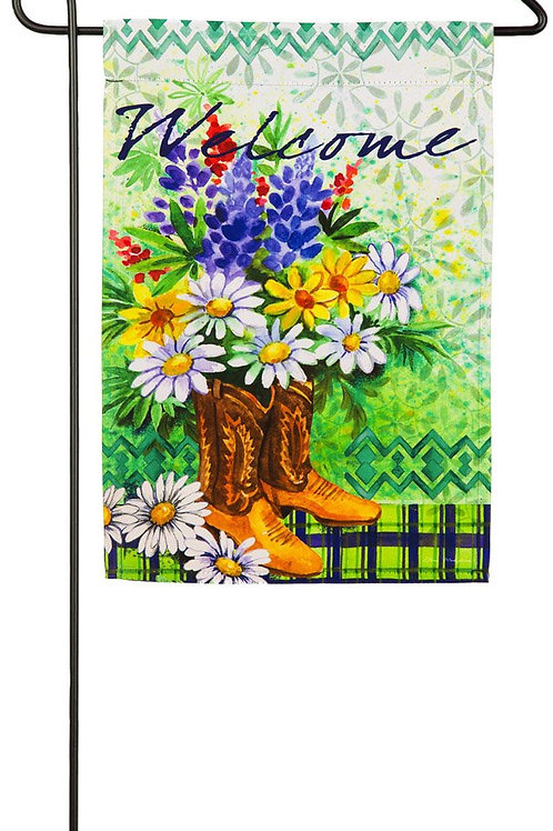 """Summer Floral in Boots 14S4084 Evergreen Suede Garden Flag 12.5"""" x 18"""""""