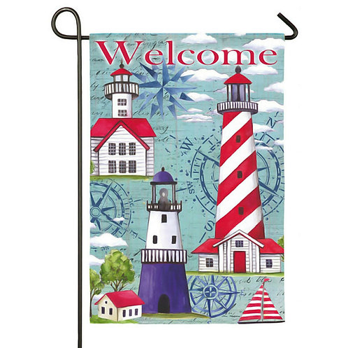 "Coastal Lighthouses 14S3704 Evergreen Suede Garden Flag 12.5"" x 18"""