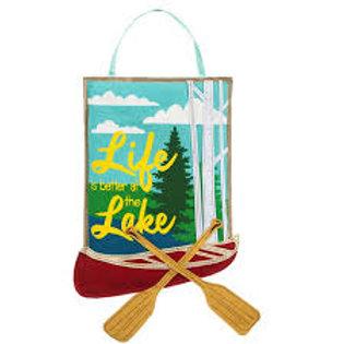 **SALE** Life at the Lake Burlap Door Decor 2DHB1149 Evergreen Door Hanger