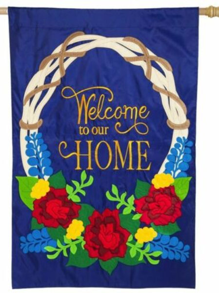 "Welcome Wreath 128615BL Evergreen Applique ESTATE Flag 36"" x 54"""
