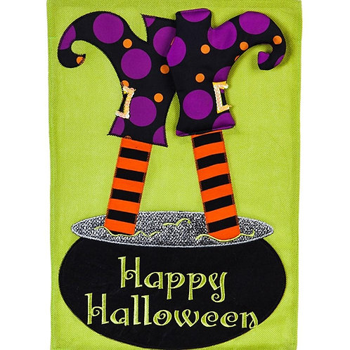 """**OPEN FLAG NO PACKAGING** Witchy Trouble Burlap Garden Flag 12.5"""" x 18"""""""