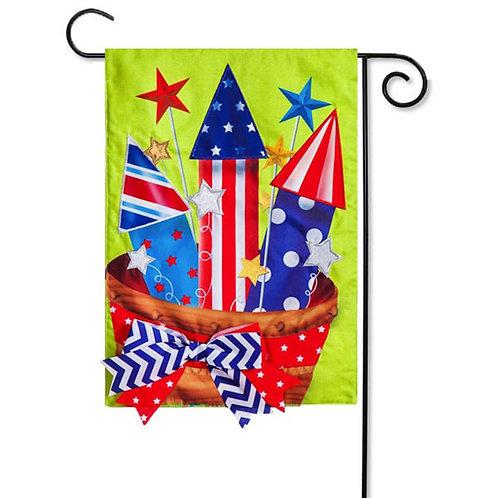 "Basket of Fireworks 14B4199BL Evergreen Burlap Garden Flag 12.5"" x 18"""