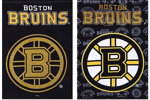"NHL Team Sports Boston Bruins 14S4351BL Suede GLITTER Garden Flag 12.5"" x 18"""