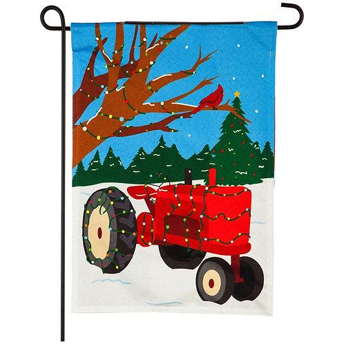"Tacky Light Tractor Solar CHASING LIGHT 14CL9378 Garden Flag 12.5"" x 18"""