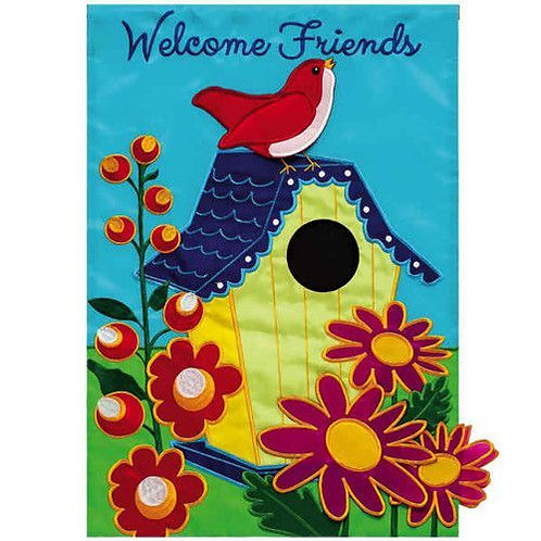 "Welcome Birdhouse 168416 Evergreen Applique Garden Flag 12.5"" x 18"""