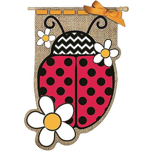 """**OPEN FLAG** Ladybug Evergreen Burlap HOUSE Flag 28"""" x 44"""""""