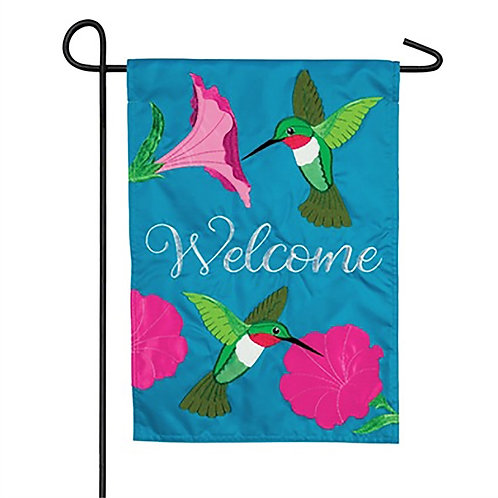 "Hummingbirds and Petunias ZKL169022 Evergreen Applique Garden Flag 12.5"" x 18"""