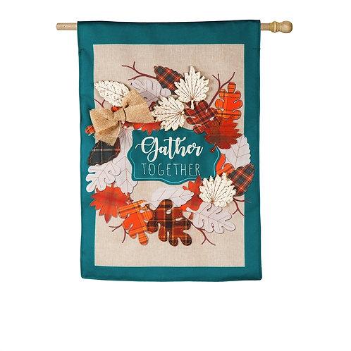 "Autumn Leaves Wreath 13B8297 Evergreen Burlap HOUSE Flag 28"" x 44"""