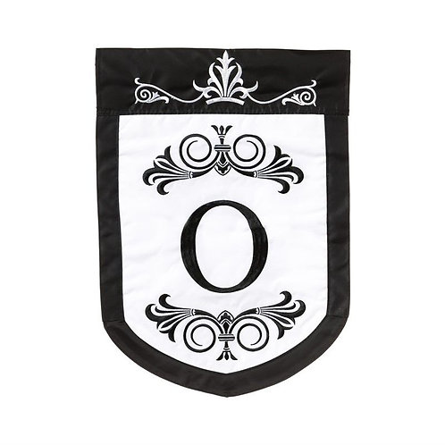 "Regalia Monogram ""O"" 161074 Evergreen Applique Garden Flag 12.5"" x 18"""