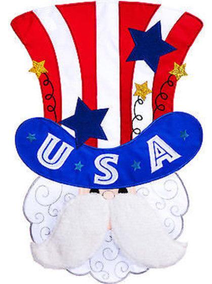 "**OPEN FLAG NO PACKAGING** Uncle Sam 168667BL Applique HOUSE Flag 28"" x 44"""