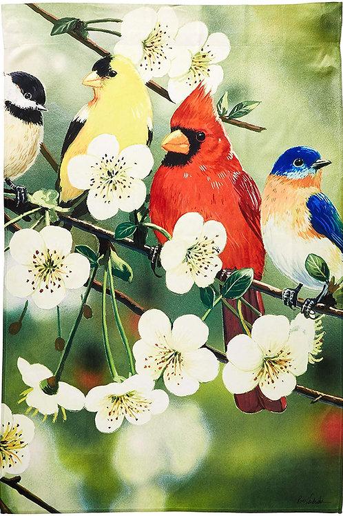 "Songbirds on a Flowering Branch 13A3688 Evergreen Satin HOUSE Flag 28"" x 44"""