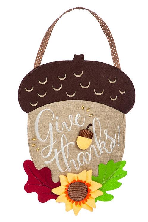 Give Thanks Acorn Door Decor 2DHB1180 Evergreen Door Hanger